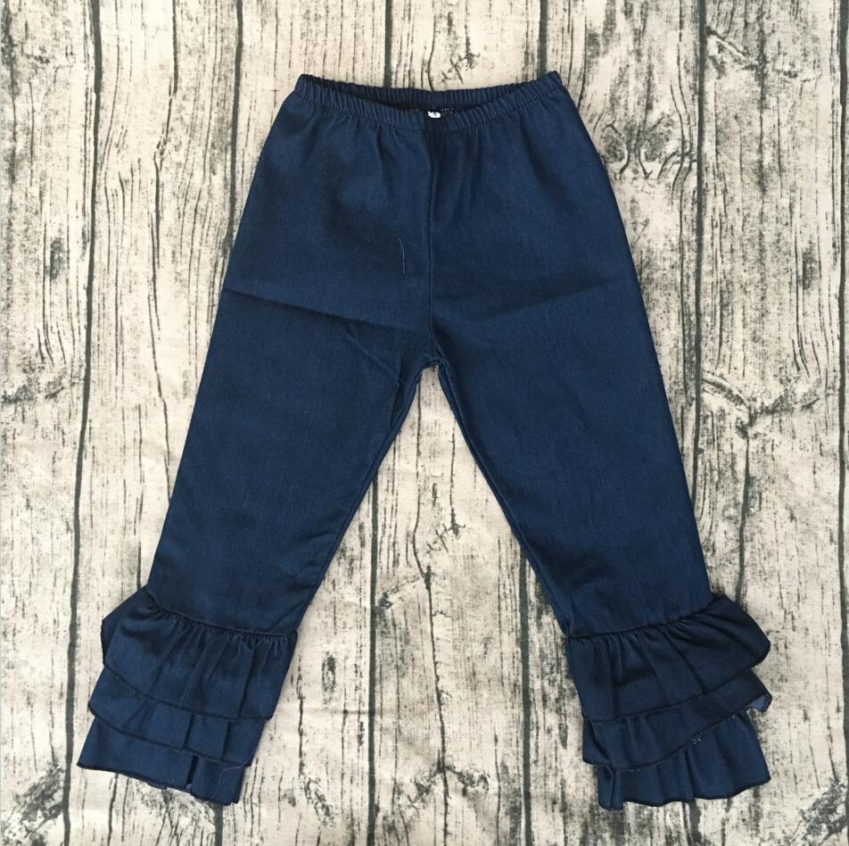 China triple ruffle leggings high quality navy color cotton pants litter baby pants kids knit ruffle baby leggings