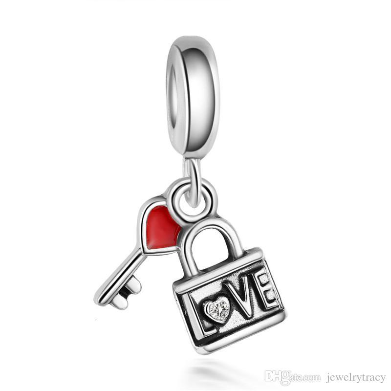 Alaşım kolye boncuk aşk kalp anahtar ve Kilit kolye için Uyuyor Pandora Takı Bilezikler Kolye diy charms ile kristal dangle boncuk