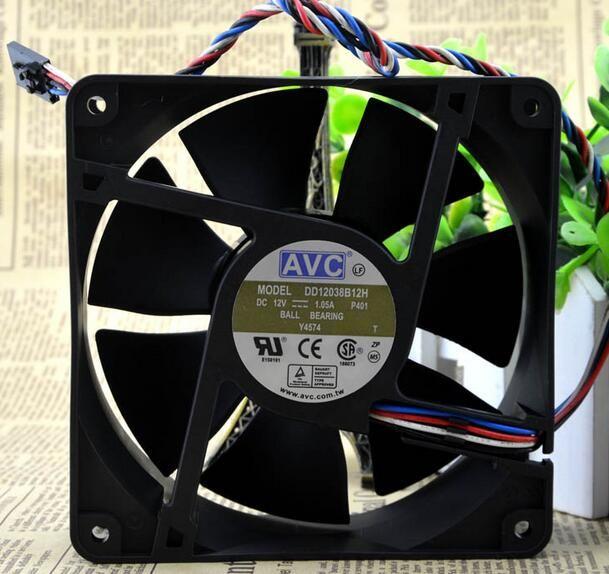 AVC DD12038B12H 120*120*38MM air volume 12 CFM 110 cm 12038 4 line support PWM temperature control
