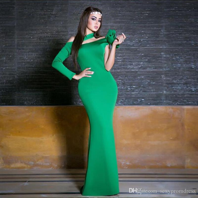 Green Keyhole One Sleeve Evening Dresses Mermaid Long With Flower Simple Prom Dresses 2017 Newest Middle-East Formal Party Dresses