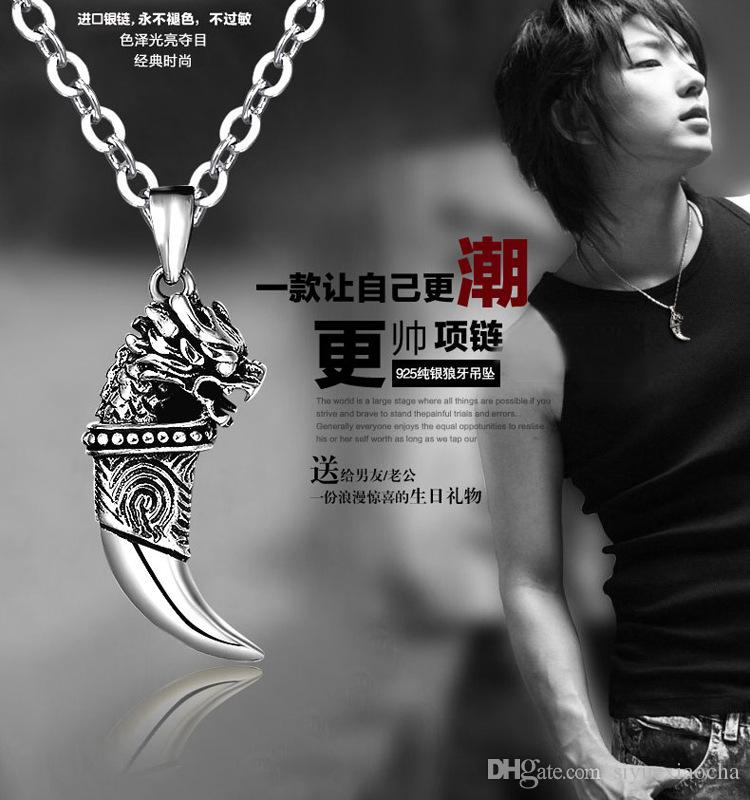 Classical vintage Style for man, Necklace with PU leather chain and J-cam bullet pendant, and high quality