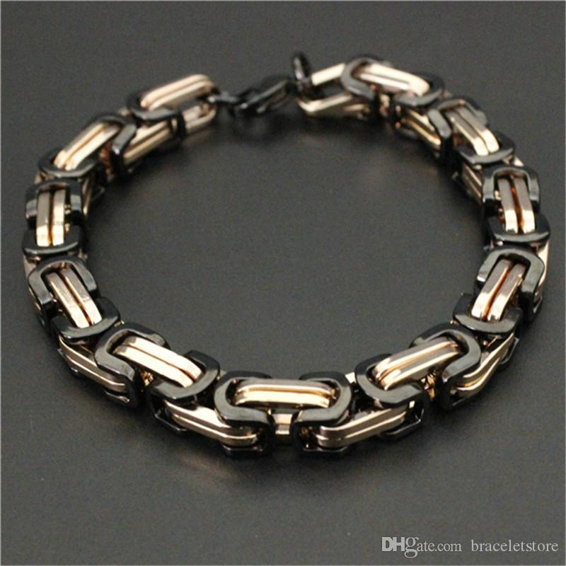 8mm 8.5inch polimento de ouro banhado motocicletas Cadeia de bicicleta bracelete 316L aço inoxidável moda jóias pulseira