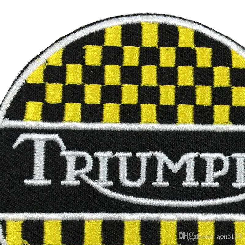 Triumph custom logo patch iron on cloth hat or bag can be custom embroidery factory in china