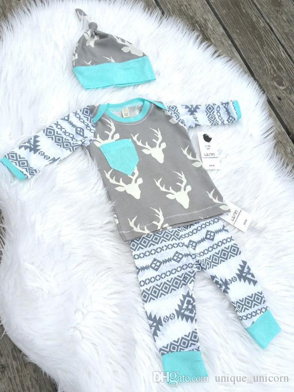 Niños Niñas Trajes de Navidad 2016 Otoño e Invierno Trajes de bebé Ciervo Impreso Ropa para niños Conjuntos Casual Tops de manga larga + Pantalones de PP + Sombrero