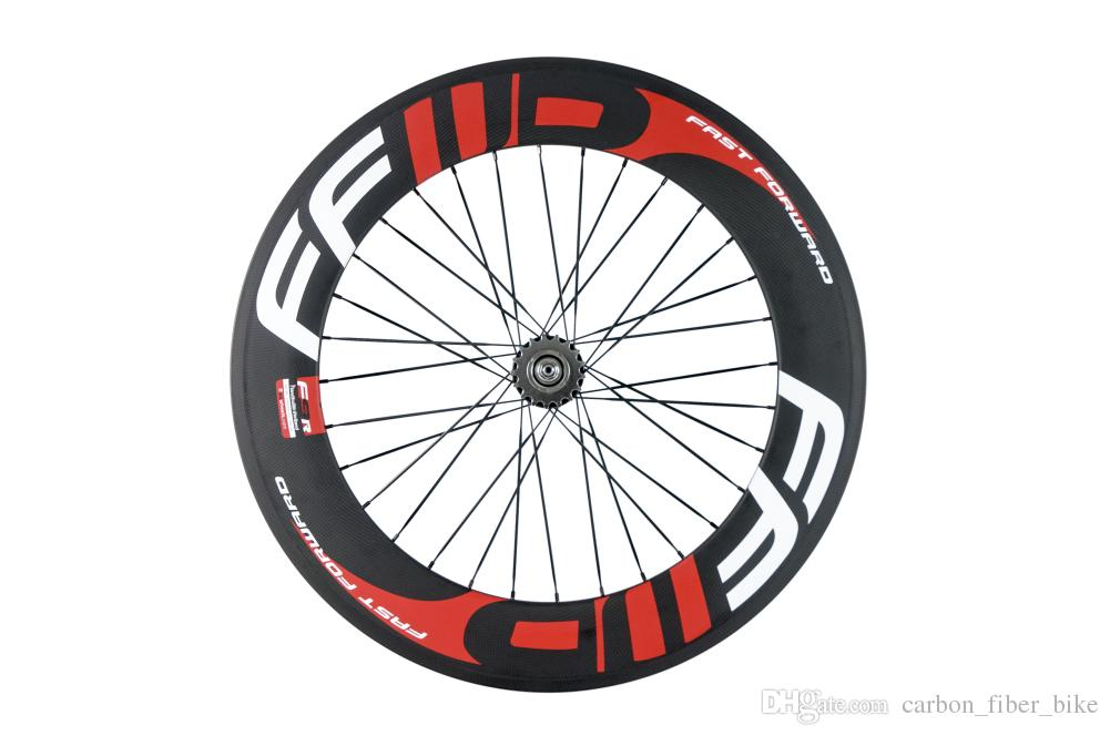 700C full carbon front 3 spokes wheel rear 88mm fixed gear wheel clincher carbon wheelset red and white decal 3k matte