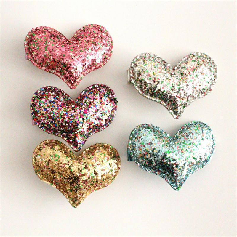 Hotsale Mixed Colors Glitter Baby Girls Love Heart Design Hair Clips with Sequins Hair Clips Party Hair Accessory Heart Princess