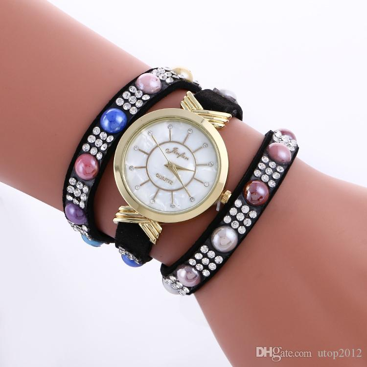 Woman Candy Three Leather Strap Bracelet Wrist Watch Jewlley Pearl Japan Movement Clock Woman Dress Watch