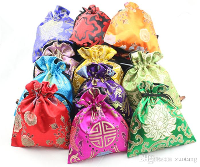 luxury floral large candy favor bags cloth art chinese silk