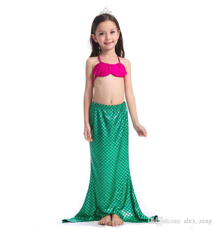 2016 novas crianças meninas sereia sereia roupas de banho conjunto shorts e lantejoulas princesa swimsuits 6et / lote para 2-7t crianças