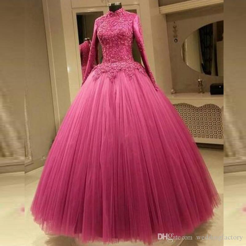 Modest Muslim Prom Dresses High Neck Long Sleeves Lace Appliques ...