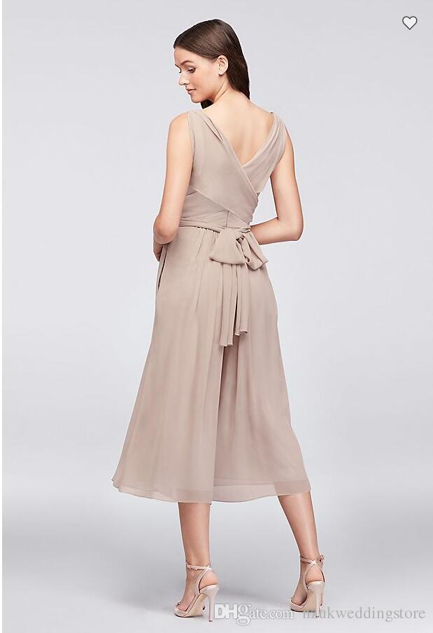 Tie-Back Crinkle Chiffon Bridesmaid Jumpsuit F19741 V-neck Chiffon Wedding Party Dress vestidos de graduacion vestidos de gala