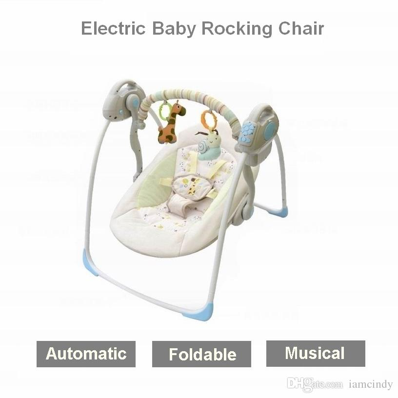 Electric Baby Bouncers Rocking Chair Kid Cradle Swing Folding Bed Vibrating Automatic