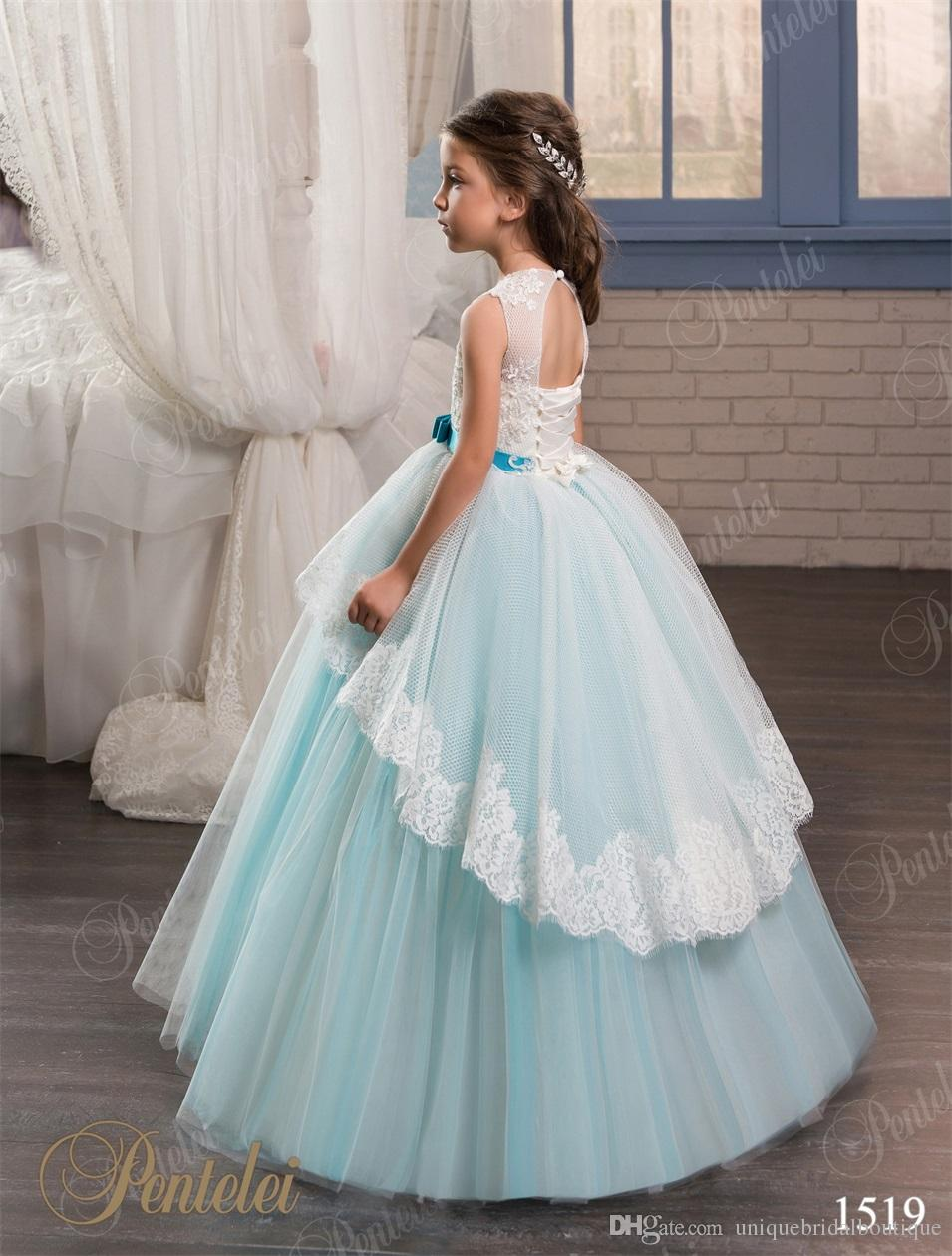 Girls Wedding Dresses 2017 Pentelei with Lace Up Back and Bow Sash Appliques Tulle Sky Blue Flower Girls Gowns for Weddings