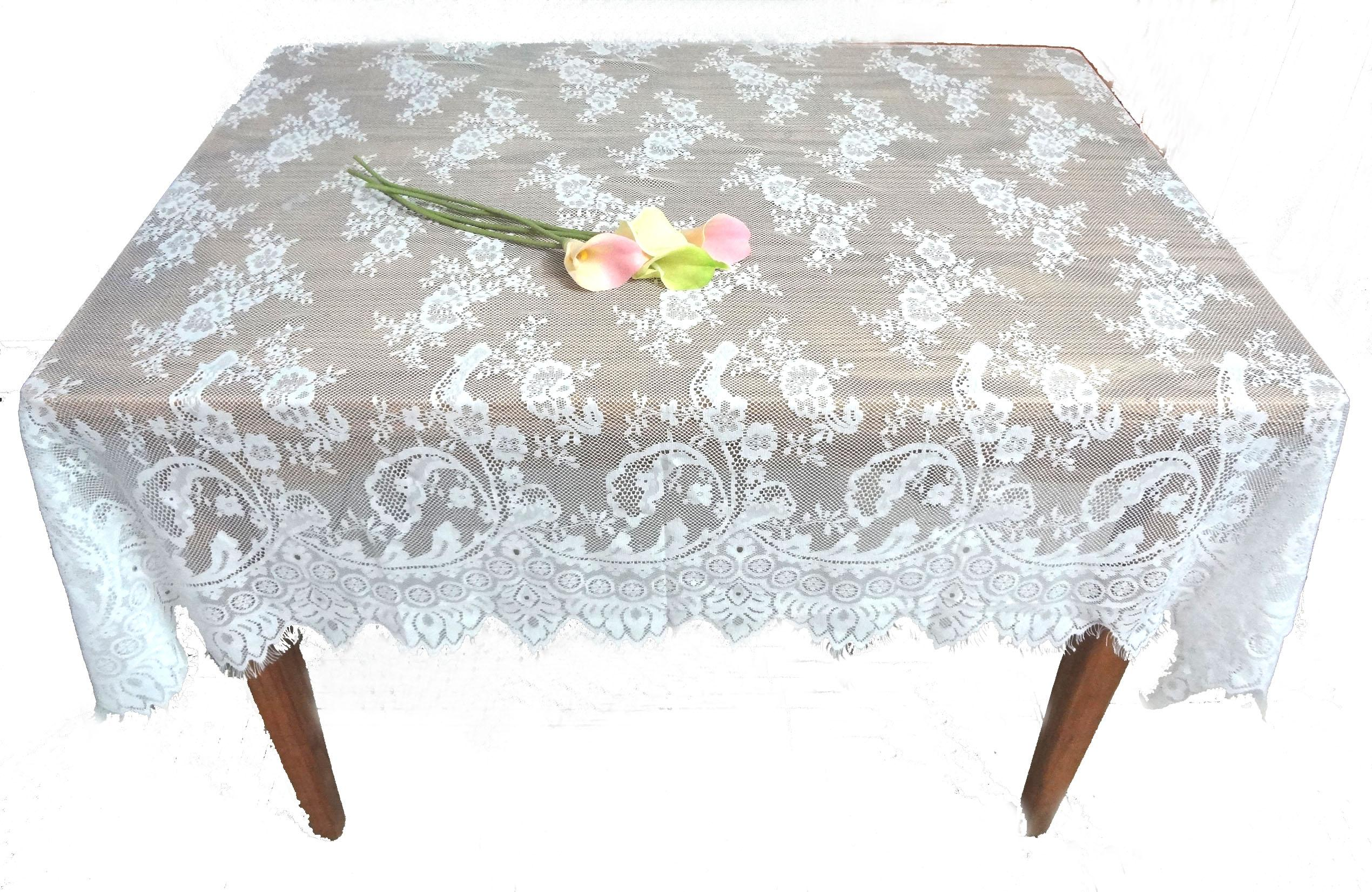 130*150cm Oblong Lace Jacquard Wedding Tablecloths Party Home Decor ...
