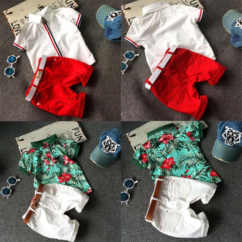 2016 Kids Baby Boy Clothes fashion Polo shirt T-shirt Tops+Shorts Pants 2pcs casual suits Outfits cotton Set 2-6Y wholesale free shipping
