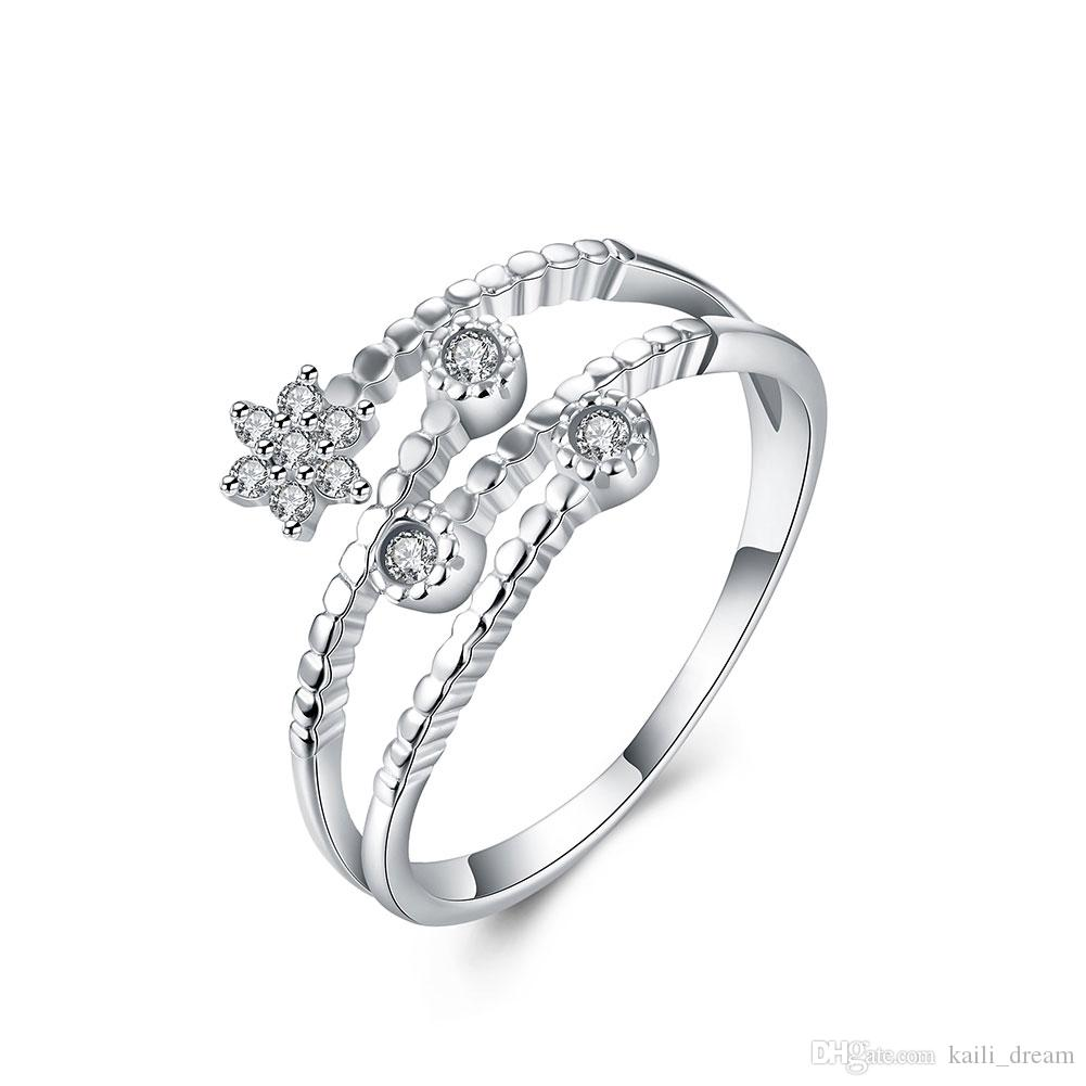 2018 Noble Star Shaped Flat Open Double Ring Prong Setting Party