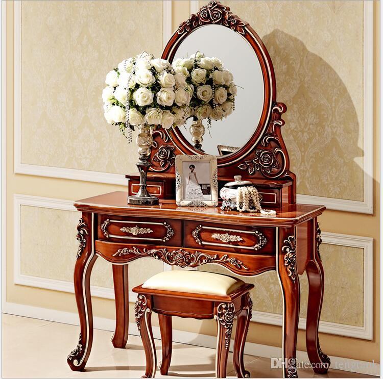 2019 European Mirror Table Antique Bedroom Dresser French Furniture ...