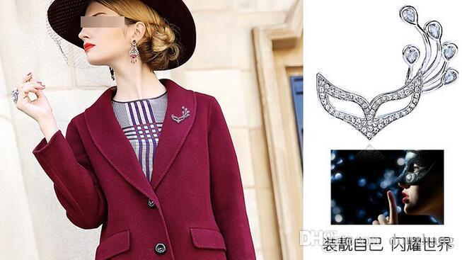 Populaire Belle Dame Filles Fleur Collier Strass Cristal Argent Plaqué Fox Masque Broche Broche Pour Cadeau En Gros