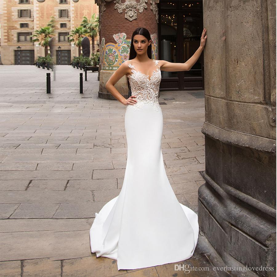 Sheer V Neck Embroider Lace Top White Satin Mermaid Wedding Dress