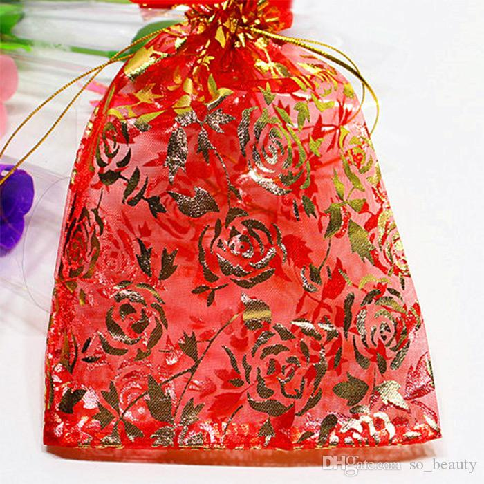 Gold Rose Organza Borse da imballaggio Borse Gioielli Buscletti Preferiti Portaferi Party di nozze Borsa regalo di Natale 5 x 7 pollici