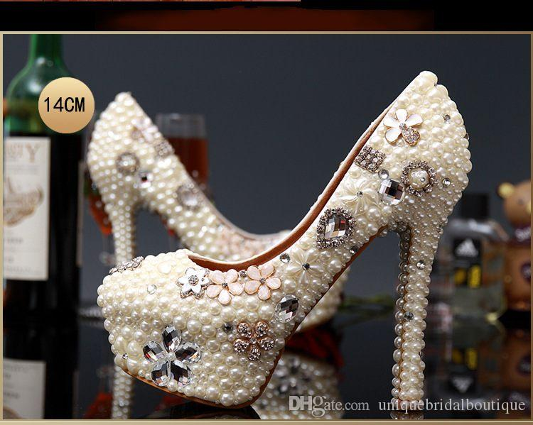 2016 Pearls Wedding Shoes in High Heels 14cm 12cm 10cm 8cm 3cm Crystals Bridal Party Shoes Fast Shipping