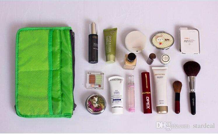 New Mulheres Lady viagem maquiagem saco Inserir bolsa forro grande Tote Organizador dupla de armazenamento surpreendente compõem sacos