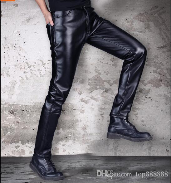 Men business Elasticity leather pants cotton Winter cashmere Super Sexy Tight waterproof handsome cool male motorcycle leather pants