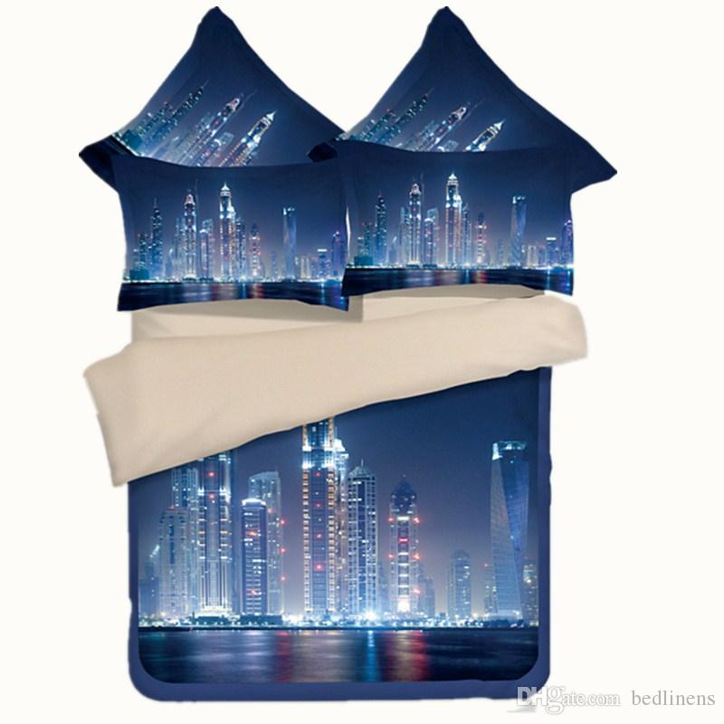 City Night View Printing Bedding Sets Twin Full Queen King Size Fabric Cotton Bedclothes Bedspreads Duvet Cover Sets Pillow Shams Comforter