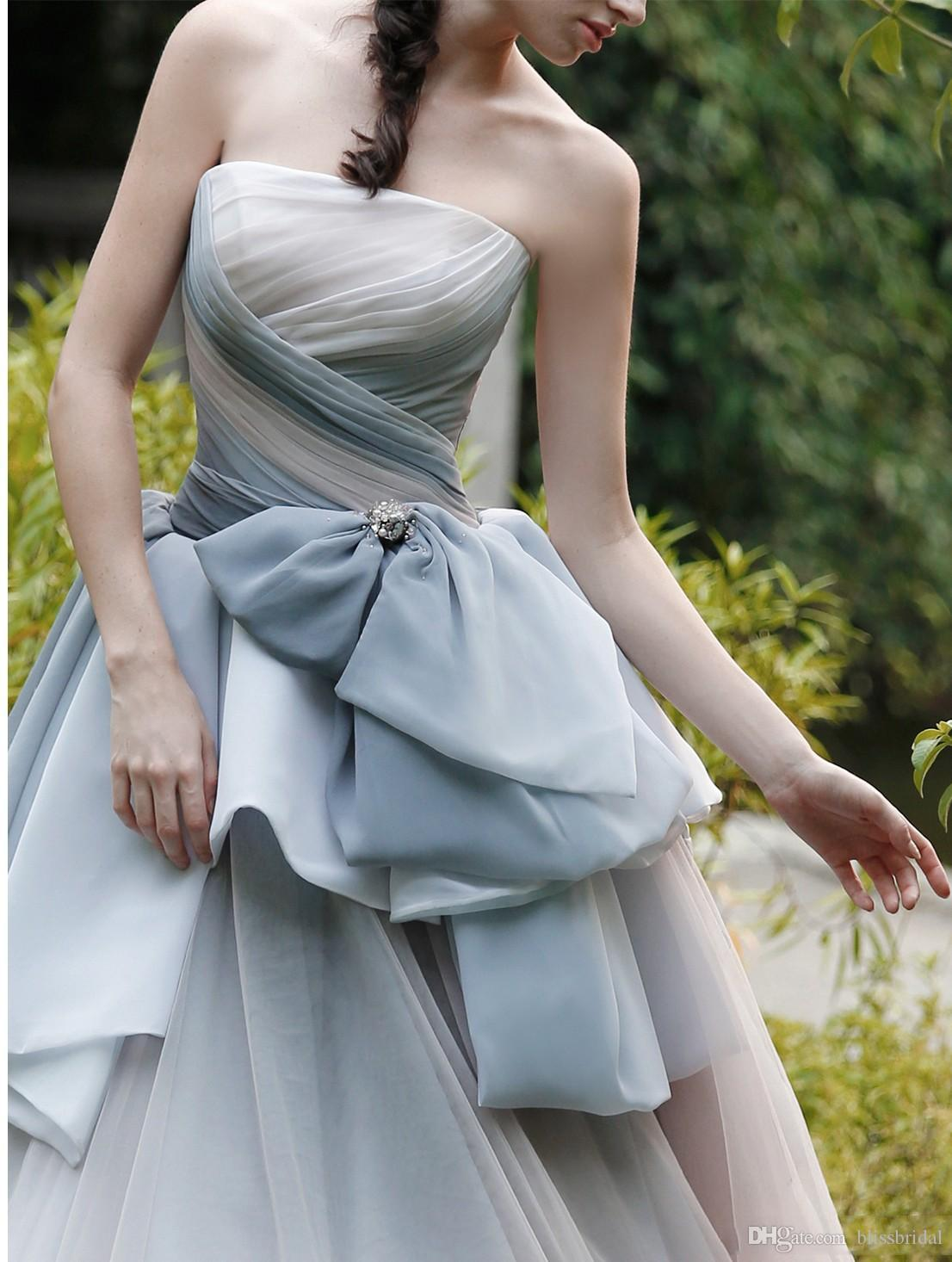 Beautiful Strapless Prom Dresses 2017 Bow Beads Layered Organza Celebrity Dresses Evening Wear Custom Made Long A Line Pageant Gowns