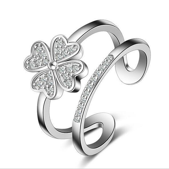 jewelry product chiness stainless fashion in puzzle steel detail four ring leaf clover rings