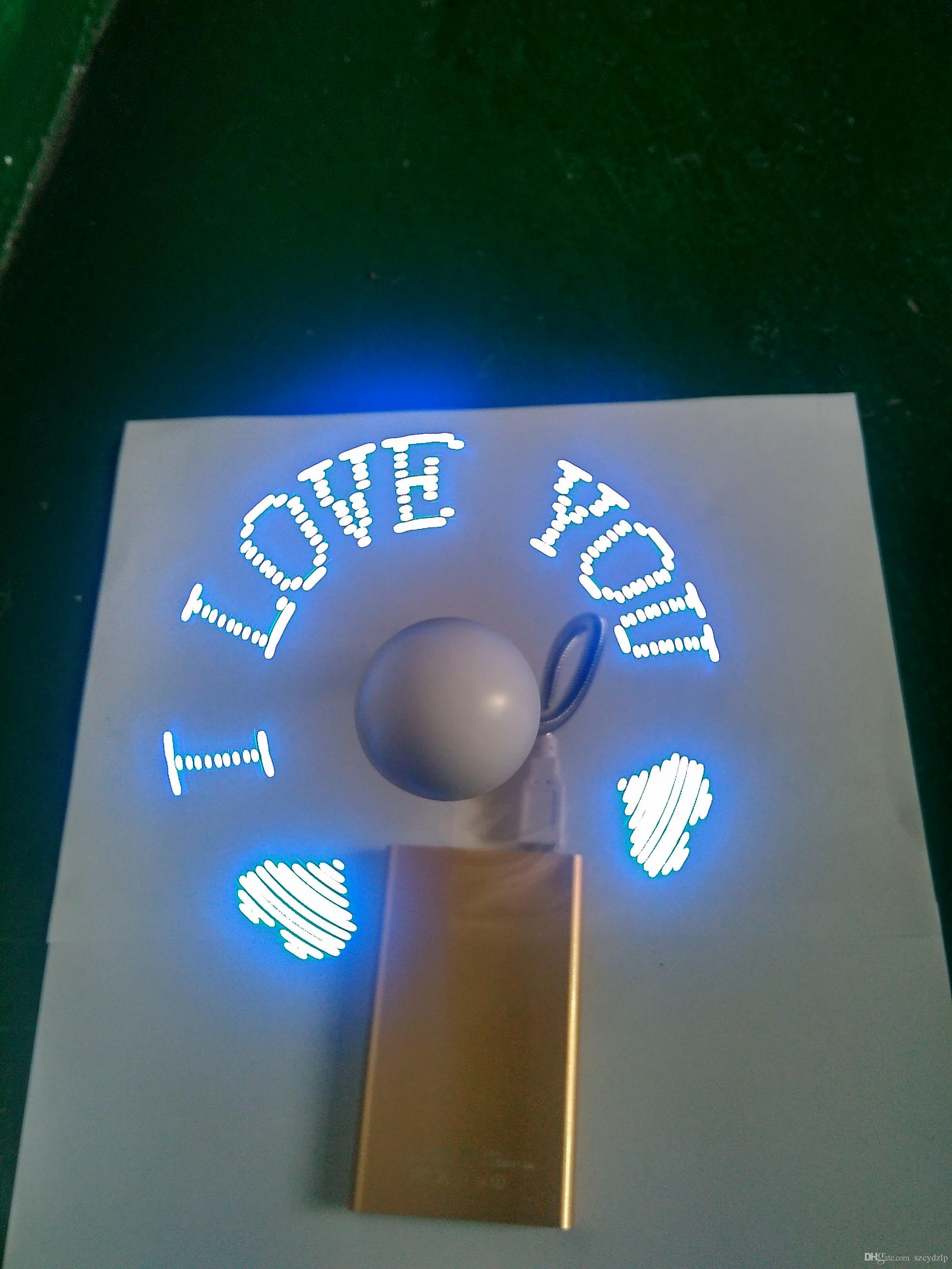 2016 Портативный мини-зарядка usb программируемый светодиодный вентилятор для рождественских подарков оптовые продажи - программируемое Пользовательское сообщение синий.