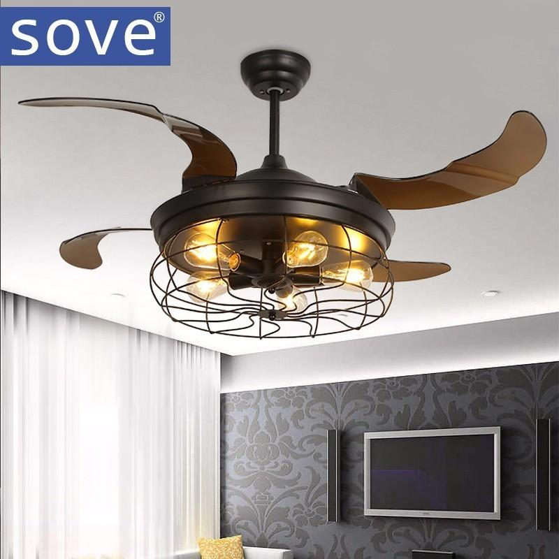42 Inch Edison Light Bulb Village Folding Ceiling Fans With Lights Classical Loft Living Room Fan Lamp By I