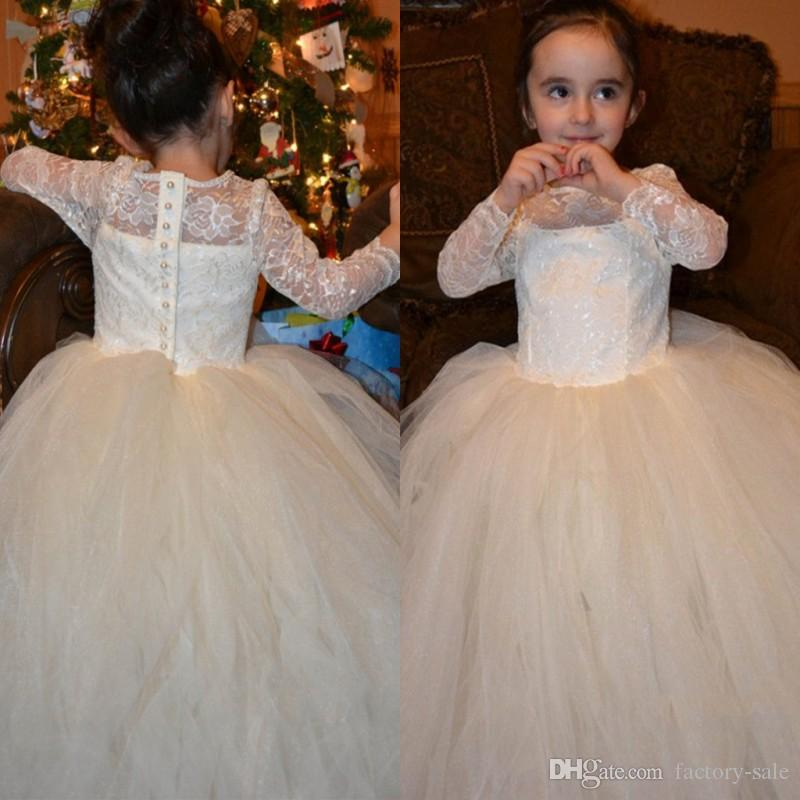 2eea68eda0 Lovely Puffy Ivory White Ball Gown Flower Girl Dresses 2019 Long Sleeves  Lace Kids Holy First Communion Dresses Vestido De Daminha