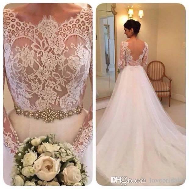 2017 A-line lace wedding dress bateau long sleeves sexy backless sash tulle sweep length bridals gowns