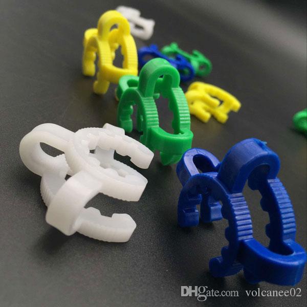 Brokahs Plastique Clip Keck Clip Laboratory Collier 14mm 19mm avec vert blanc bleu jaune quatre couleurs pour l'adaptateur de verre