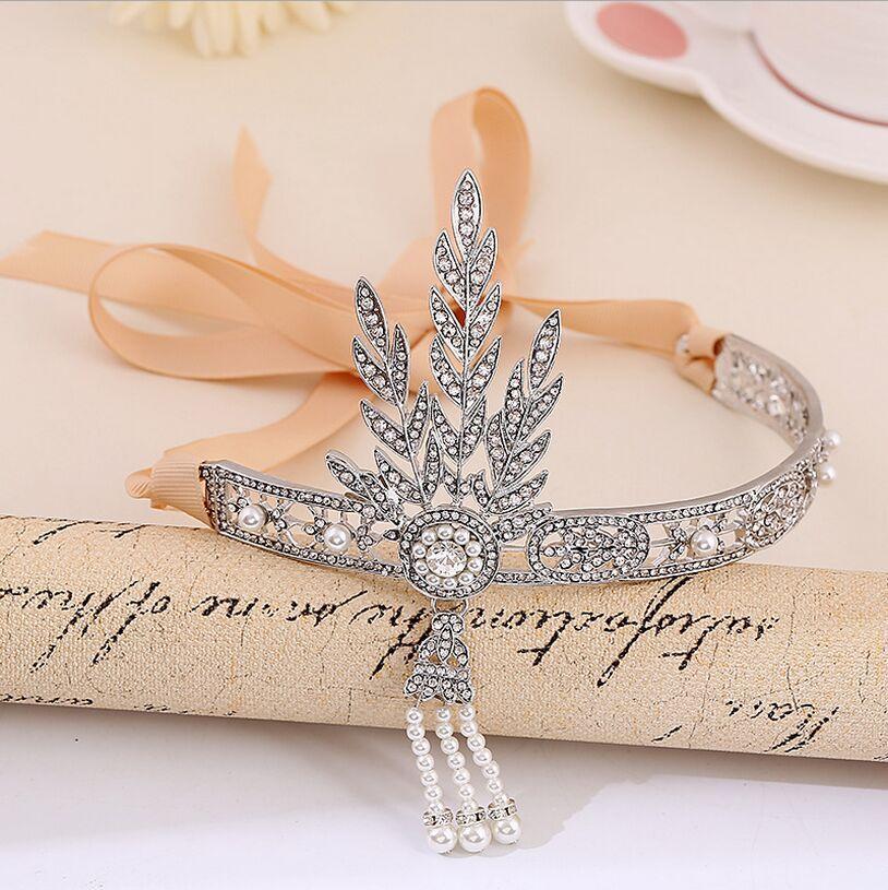 2016 The Great Gatsby Strass Perla Accessori capelli Nuziale Tassel Tiara Crown Wedding Jewelry Pageant Crowns Diademi