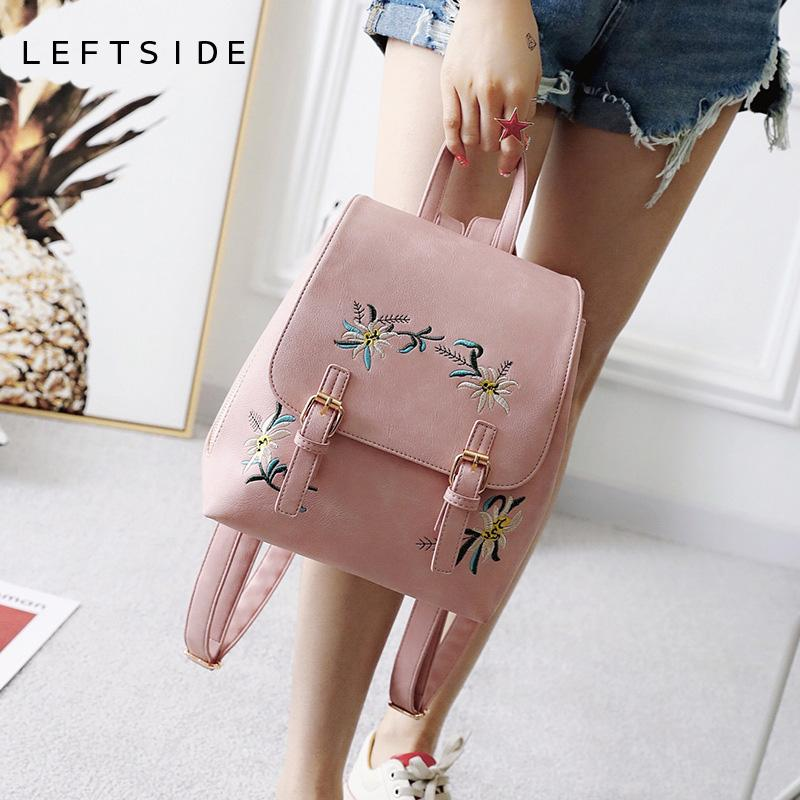 e6002abf1715 Fashion Pink Floral PU Leather Backpack Women Embroidery School Bag For Teenage  Girls Ladies Small Backpacks Sac A Dos 171103 School Bags Messenger Bags ...
