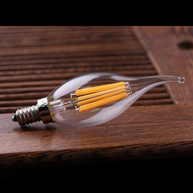 Dim, E12 E14,2 W 4 W 6 W LED Filament Şamdan Ampul, 2200 K sıcak sarı, Avize Alev Ucu, 110-240VAC, Retro Lamba