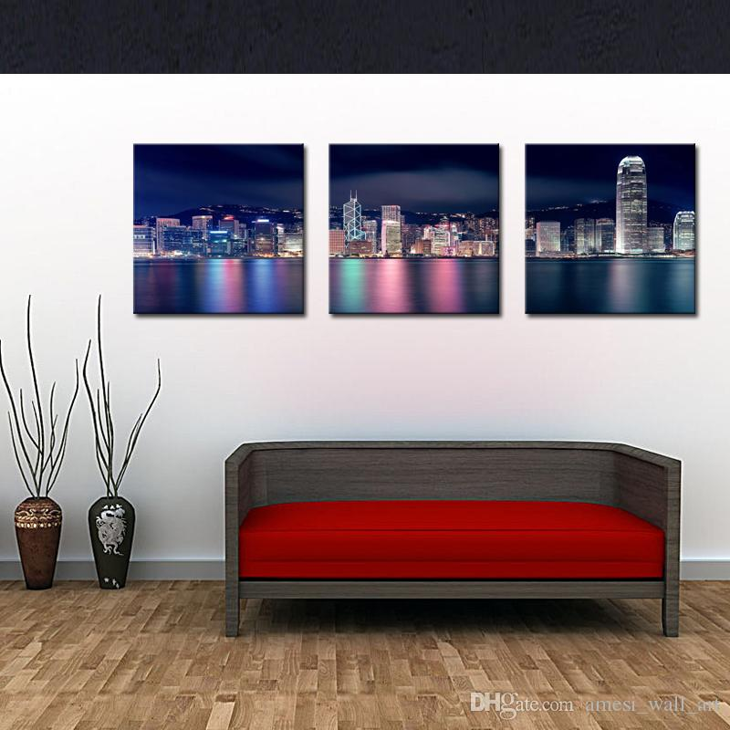 Best 3 Panels Picture City Paintings Wall Art Decor Hong Kong ...