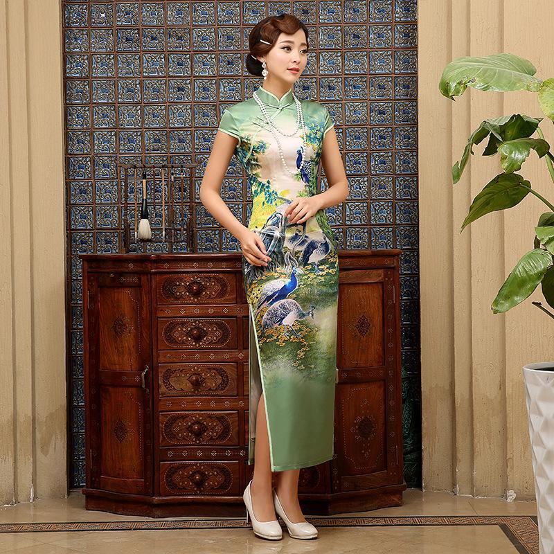 Envío gratis Cheongsam largo Cheongsam de seda de calidad superior Cheongsams china vestido qipao manga corta vestido tradicional chino 2 estilo
