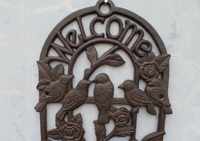 Support de pot de fleur en fonte fixé au mur Support de panier pour plantes Bienvenue 6 oiseaux sur support de fleurs plateau en plein air jardin suspendu décor Vintage