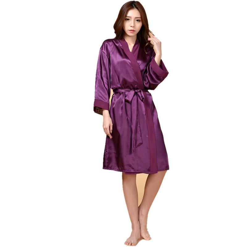6b6972078074 2019 Wholesale Purple Hot Sale Summer Silk Chiffon Robe New Style Women S  Kimono Bath Gown Lounge Nightgown Sexy Sleepwear One Size ZS034 From Buxue
