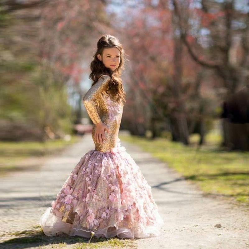2019 최신 골드 시니 걸스 미인 대회 손으로 만든 꽃 긴 소매 인어 드레스 스팽글 골동품 꽃 파는 소녀 드레스