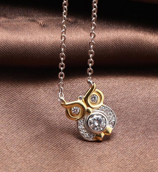 Bird of Wisdom 925 Sterling Silver Owl Animal Charm Pendant Necklace with Crystal Diamond A Love Story That Never Ends
