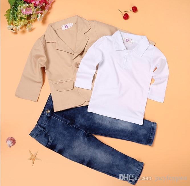 Costumes bébé garçon vêtements + chemise + jeans costume de garçon enfants Causal Loisirs ensembles enfants coton bébé vêtements ensembles tops + pantalons 0-8A CQZ051