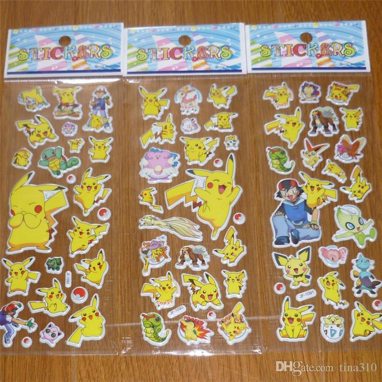 Nova Moda Infantil Dos Desenhos Animados Pikachu 3D Adesivos UV Papel De Parede Berçário Crianças Quarto Dos Miúdos Quarto Parede B0423