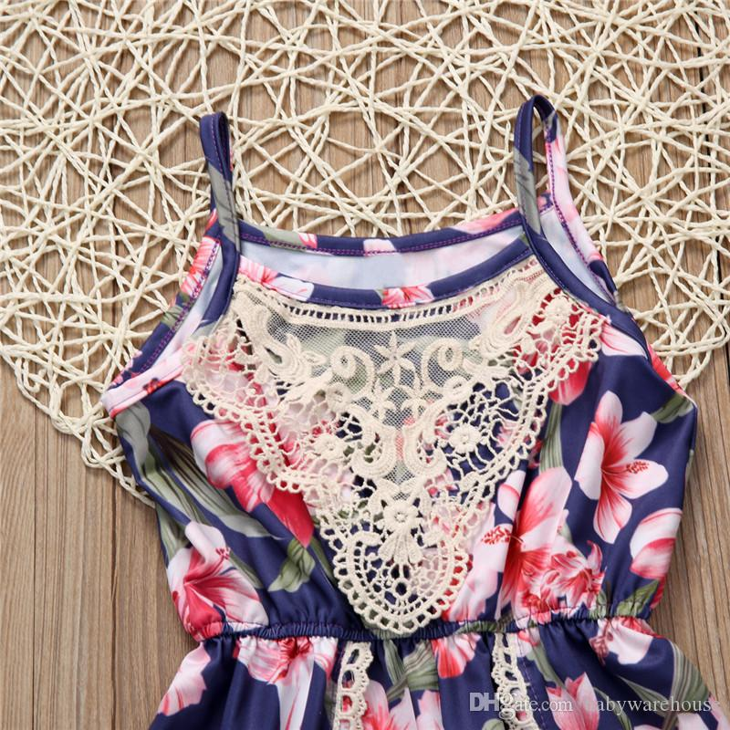 Boutique Girls Clothing Lovely Infant Baby Girl Clothes Sleeveless Lace Floral Romper Jumpsuit Outfits Sunsuit Clothes Kids One Piece Suit