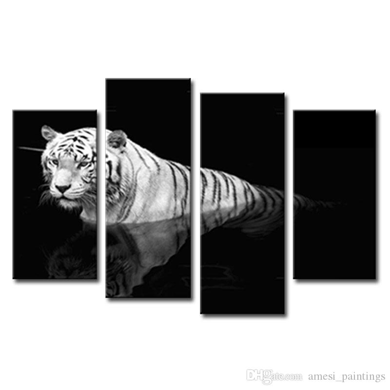 Best Black White 4 Panel Wall Art Painting Tiger Prints On Canvas The Picture Animal Pictures Oil For Home Decoration Decor Under 3296