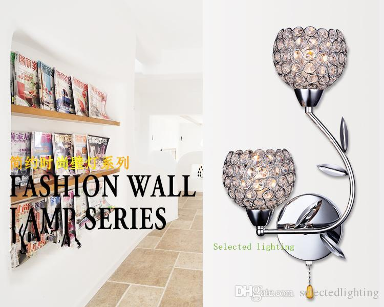 Shop Cascadia Lighting 4 Light Standford Brushed Nickel: Best Modern K9 Crystal Wall Sconce Aluminium Lampshade E14