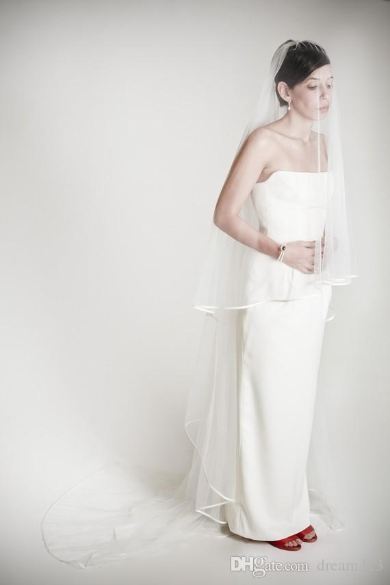 New Top Quality Best Sale Cheap Romantic Chapel Ribbon Edge Veil Mantilla Veil Bridal Head Pieces For Wedding Dresses